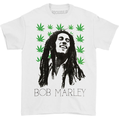 Bob Marley Men's  Leaves T-shirt White