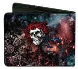 Grateful Dead Men's Space Your Face & Skull & Roses Bi-Fold Wallet