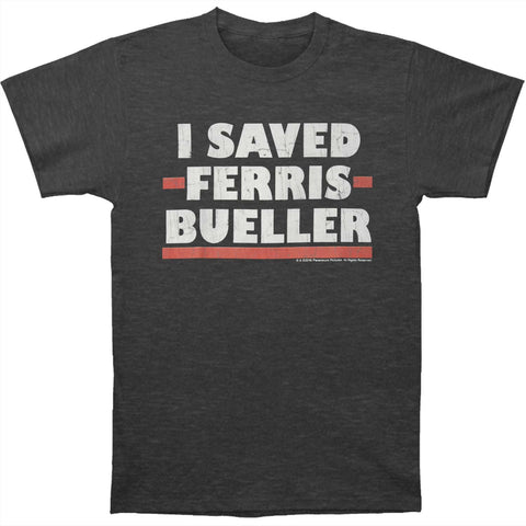 Ferris Bueller's Day Off Men's  I Saved T-shirt Charcoal Heather Rockabilia