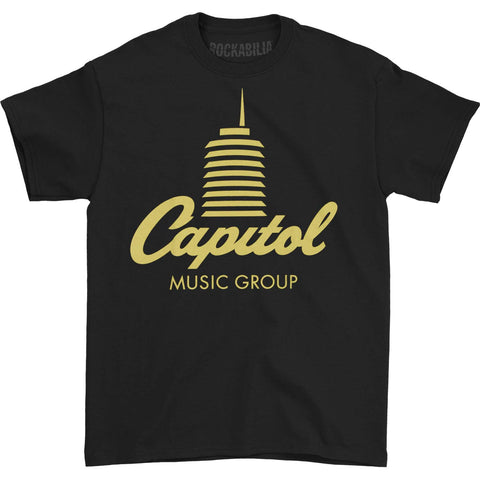 Capitol Records Men's  Tower Logo T-shirt Black