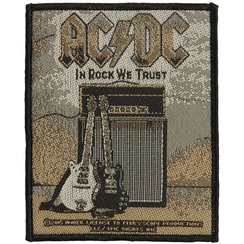 AC/DC Men's In Rock We Trust Woven Patch Sepia