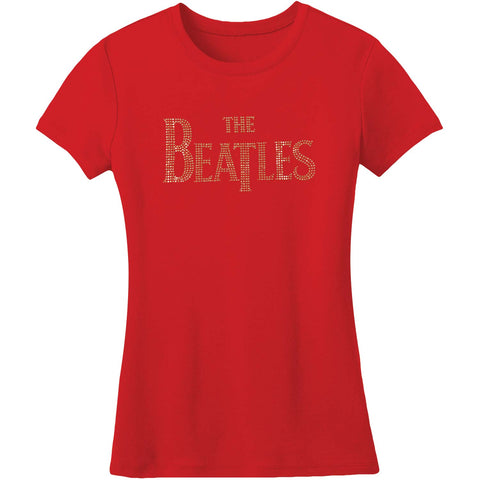 Beatles  Drop T Logo Junior Top Red