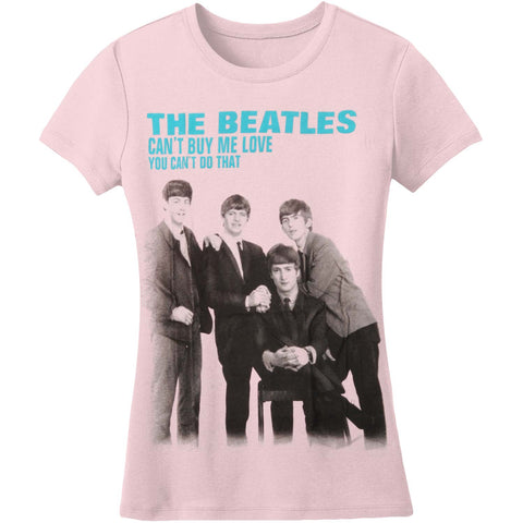Beatles Women's  Can't Buy Me Love Girls Jr Fashion Top Pink