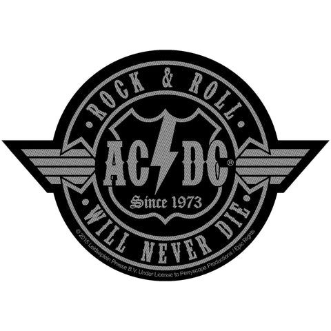 AC/DC Men's Rock N Roll Will Never Die Cut-Out Woven Patch Black
