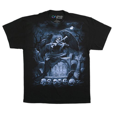 Fantasy Men's  RIP Reaper T-shirt Black Rockabilia