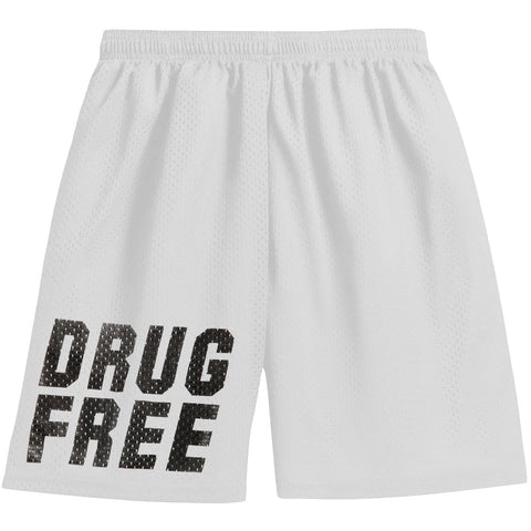 1981 Clothing Men's  Drug Free Gym Shorts White