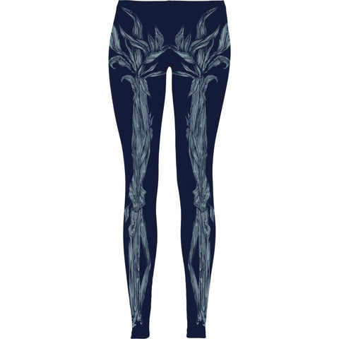 Ellie Goulding Women's  Skeleton Floral Sublimated Leggings Leggings Blue