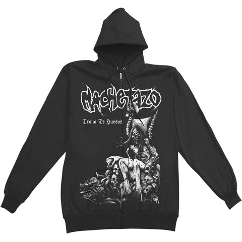 Machetazo Men's  Trono De Huesos Zippered Hooded Sweatshirt Black