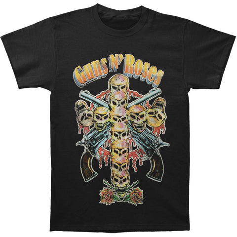 Guns N Roses Men's  Skull Cross 80s T-shirt Black