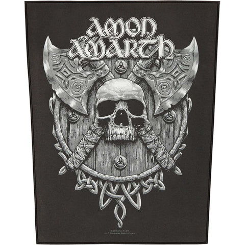 Amon Amarth Men's Skull & Axes Back Patch Black