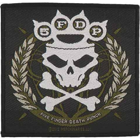 Five Finger Death Punch Men's Knuckle Crown Woven Patch Black