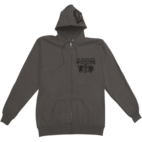 Fleshgod Apocalypse Men's  Emblem Dead King Zippered Hooded Sweatshirt Grey