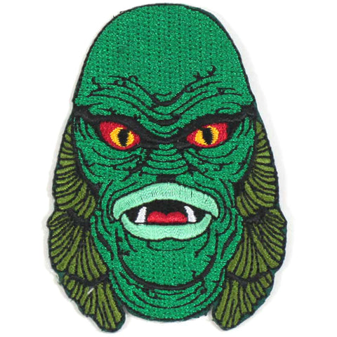 Creature From The Black Lagoon Men's Creature Head Embroidered Patch Green