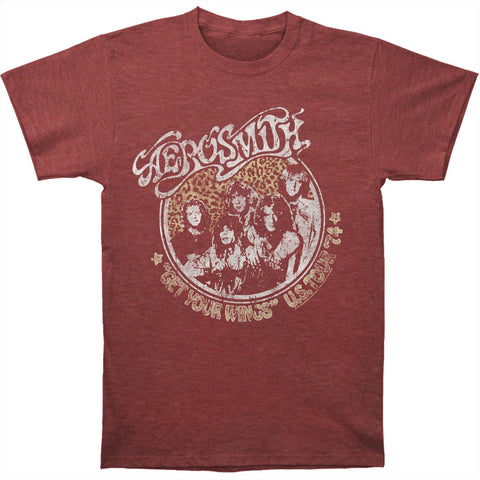 Aerosmith Men's  US Tour 74 Slim Fit T-shirt Heather Maroon