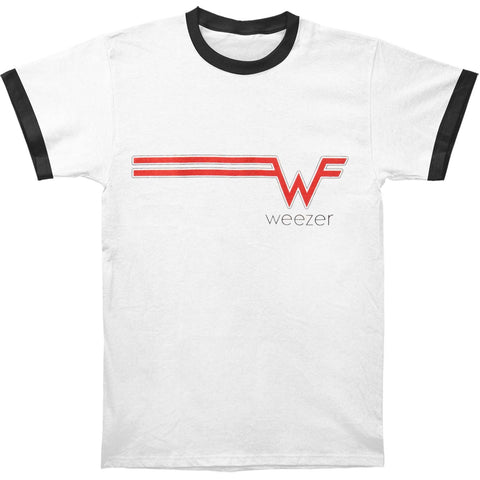 Weezer Men's  Striped Logo Ringer Slim Fit T-shirt White/Blk trim