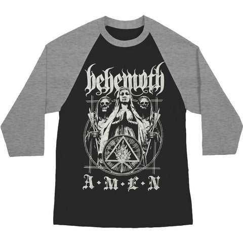 Behemoth Men's  Amen Baseball Jersey Grey/Black
