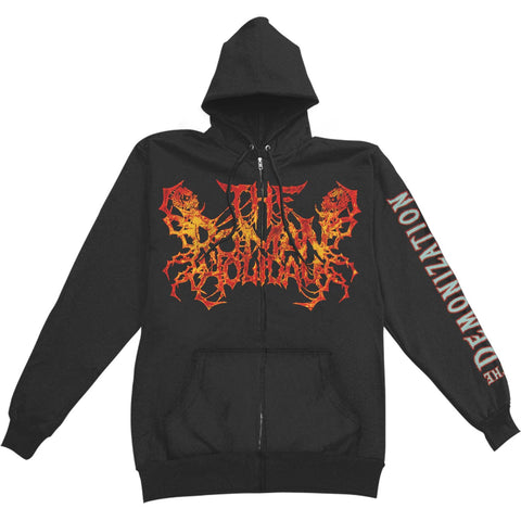 AHTME Men's  The Demonization Zippered Hooded Sweatshirt Black