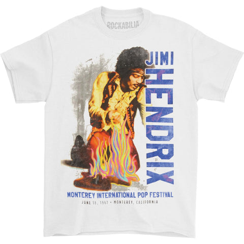 Jimi Hendrix Men's  Monterey Pop Festival Flames T-shirt White