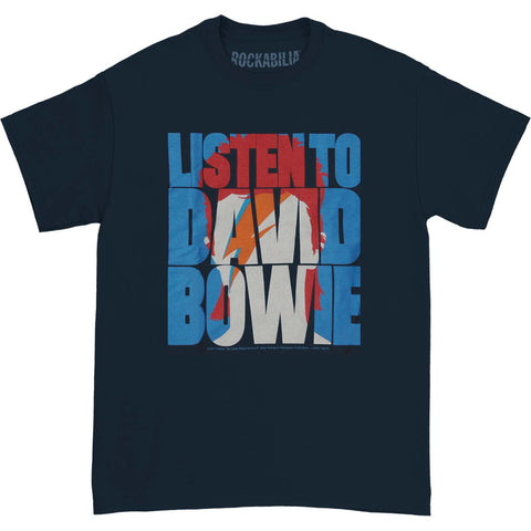 David Bowie Men's  Listen To Bowie T-shirt Navy