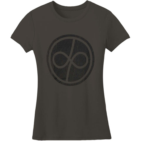 Deep Purple  Infinite Distress Logo Charcoal Ladies Junior Top Charcoal