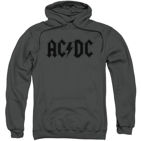 AC/DC Men's  Worn Logo Hooded Sweatshirt Charcoal