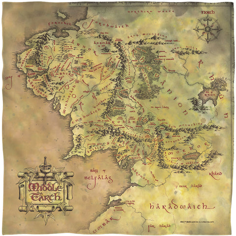 Lord Of The Rings Middle Earth Map Bandana White