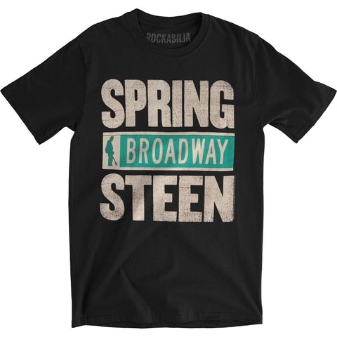 Bruce Springsteen Men's  Spring Broadway Steen Slim Fit T-shirt Black