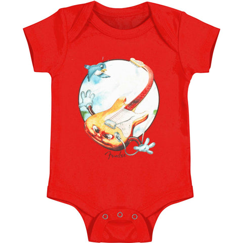Fender Boys' Flying Guitar Bodysuit Red