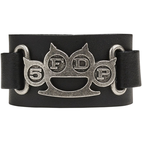 Five Finger Death Punch Men's  Knuckle Duster Leather Wriststrap Wristband Black