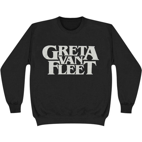 Greta Van Fleet Men's  Logo Cew Neck Fleece Sweatshirt Sweatshirt Black