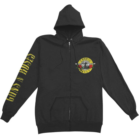 Guns N Roses Men's  Bullet 1985 Zippered Hooded Sweatshirt Black