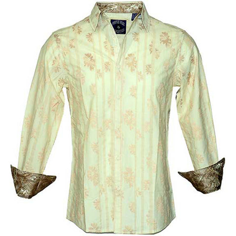 Jimi Hendrix Men's  Rock Roll n Soul Are You Experienced Crm LS Button Up Shirt Dress Shirt Cream