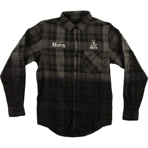 Misfits Men's  Long Sleeve Woven Tee Flannel Grey