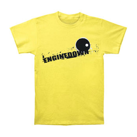 Engine Down Men's  Black Circle Logo T-shirt Yellow