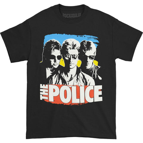 Police Men's  Sunglasses With Paint T-shirt Black