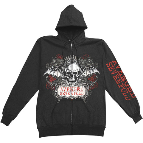 Avenged Sevenfold Men's  AVS Ornate Skull Mens Zip Hoodie Zippered Hooded Sweatshirt Black