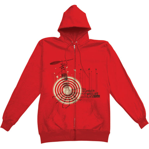 #12 Looks Like You Men's  Zippered Hooded Sweatshirt Red Rockabilia