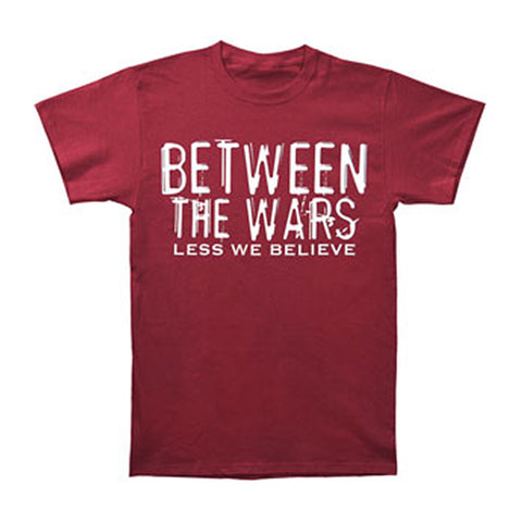 Between The Wars Men's  Less We Believe T-shirt Red Rockabilia
