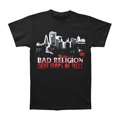 Bad Religion Men's  New Maps Of Hell Cover T-shirt Black Rockabilia