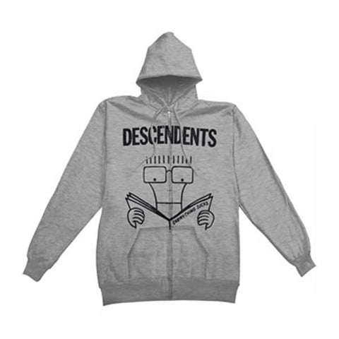 Descendents Men's  Everything Sucks Grey Zippered Hooded Sweatshirt Grey