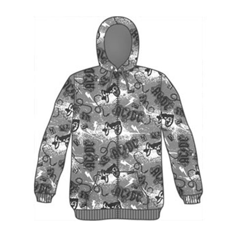AC/DC Men's  Cannons All Over Print Zippered Hooded Sweatshirt Grey Rockabilia