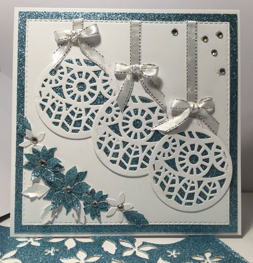 Ornaments and glitter cardstock for Christmas