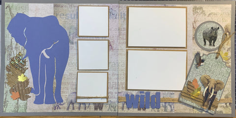Wild elephant double page scrapbook kit