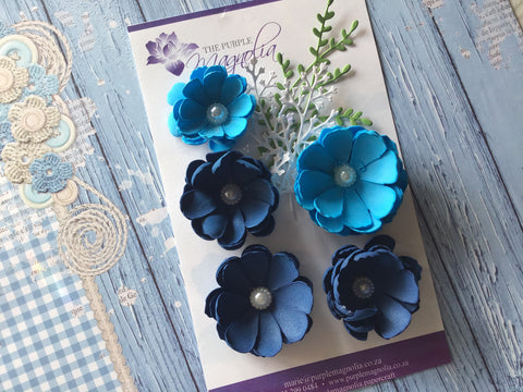 The Purple Magnolia blue and navy foamiran flower pack