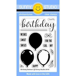 SS Birthday balloon stamp and balloon die set with word