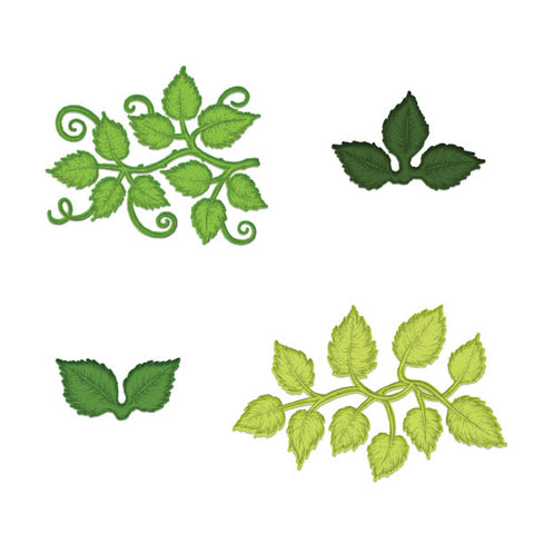 Heartfelt Creations - Leafy accents stamp and die set