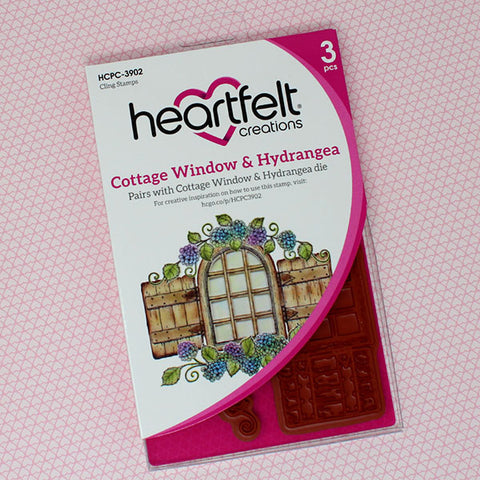 Heartfelt Creations cottage window hydrangea stamp and die set