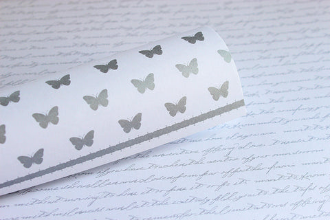 LPP0031 silver metallic script and butterflies