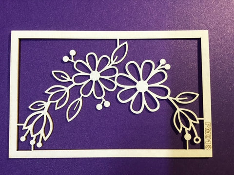 The Purple Magnolia chipboard PM018 Floral crescent