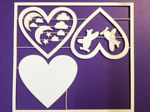 The Purple Magnolia chipboard PM0024 Plane shaker heart